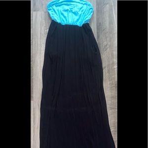 Women's Long Blue & Black Tube Top Dress